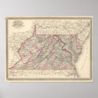 Virginia, Delaware, Maryland, y Virginia Occidenta Póster