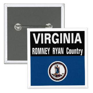 Virginia es botón del país de Romney Ryan Pin Cuadrado