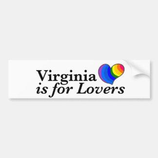 Virginia está para los amantes gay pegatina de parachoque