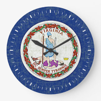 VIRGINIA FLAG LARGE CLOCK