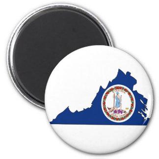 Virginia Flag Map 2 Inch Round Magnet
