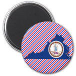 Virginia Flag Map 2 Inch Round Magnet