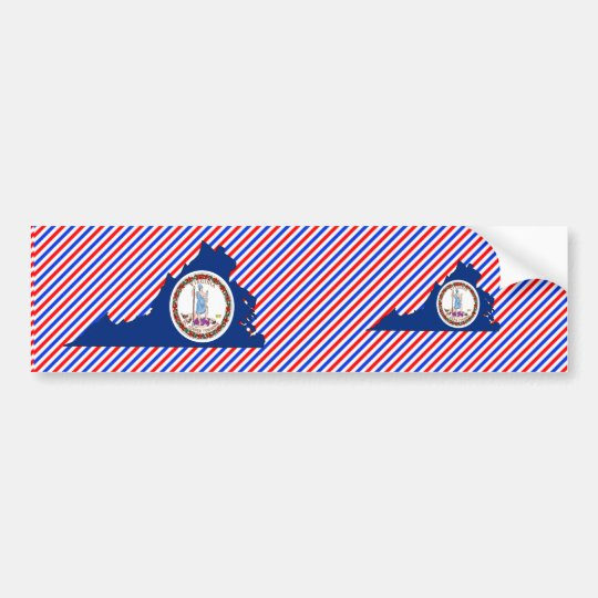 Virginia Flag Map Bumper Sticker