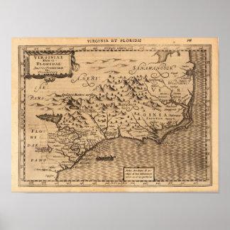 Virginia & Florida Mercator Gerard 1632 Poster