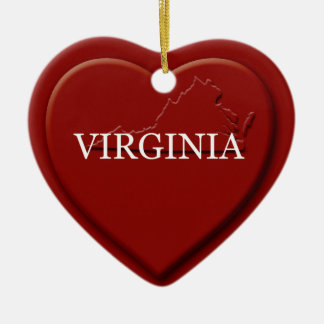 Virginia Heart Map Christmas Ornament