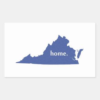 Virginia home silhouette state map rectangular sticker