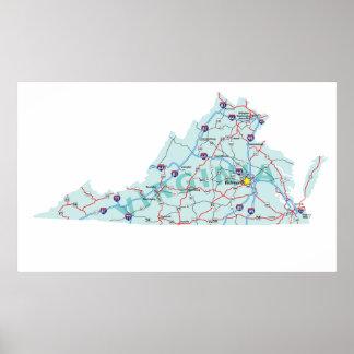 Virginia Interstate Map Print