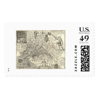 Virginia John Smith Map 1624 Postage