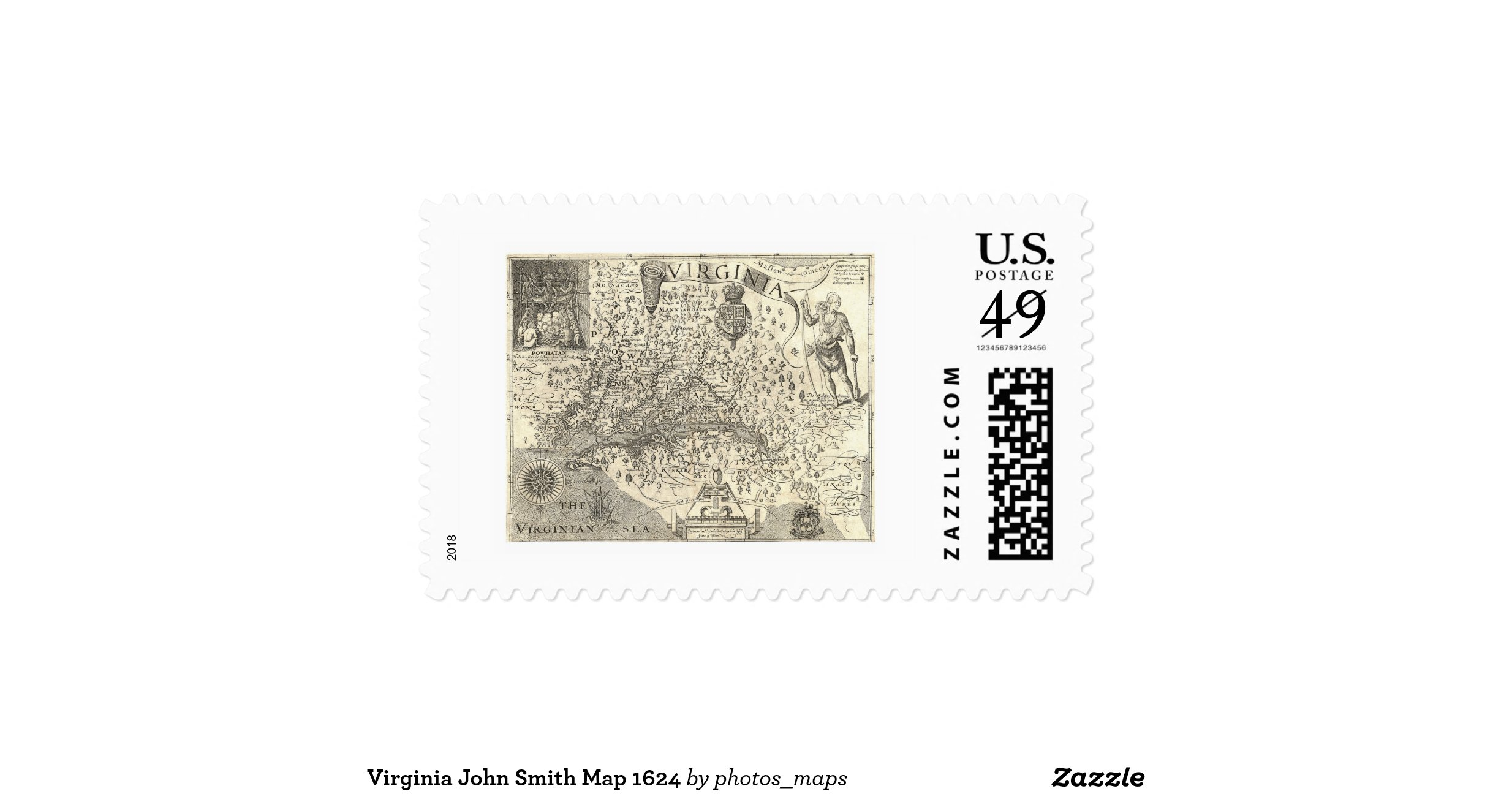 signing a letter virginia smith map 1624 postage zazzle 1624