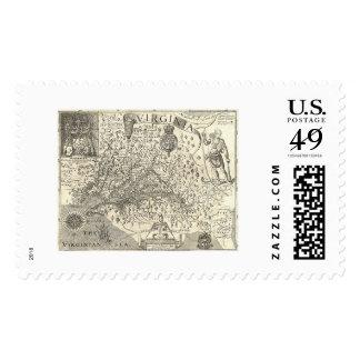 Virginia John Smith Map 1624 Stamps