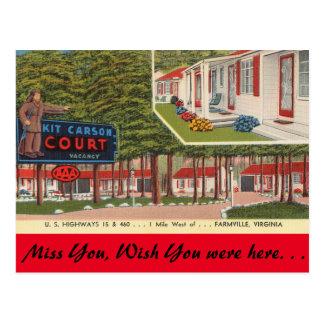 Virginia, Kit Carson Court, Farmville Postcard