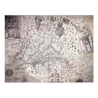 Virginia Map, 1612 Postcard