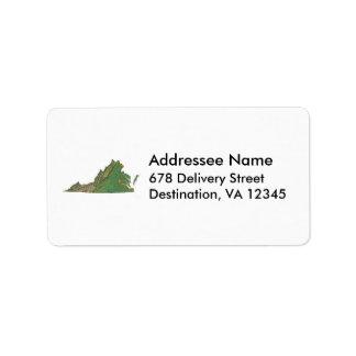 Virginia Map Address Label