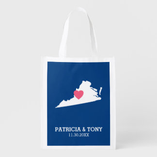 Virginia Map Home State Love with Optional Heart Reusable Grocery Bag