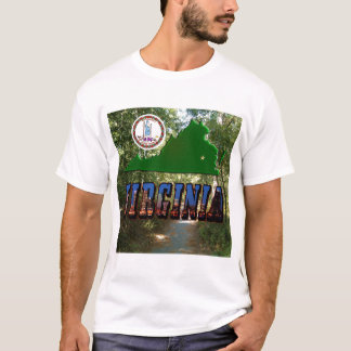Virginia Map, State Seal, Picture Text T-Shirt