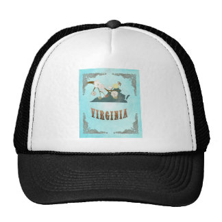 Virginia Map With Lovely Birds Trucker Hat
