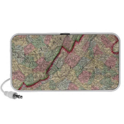Virginia, mapa de W Virginia de Mitchell iPod Altavoz