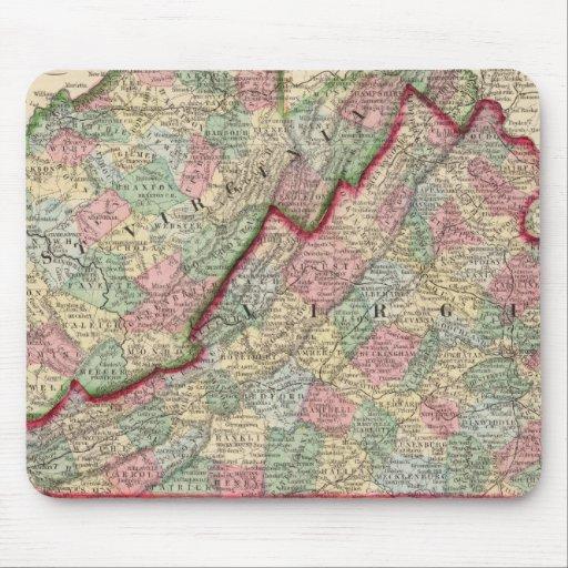 Virginia, mapa de W Virginia de Mitchell Tapetes De Ratón