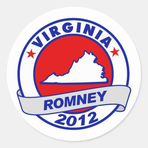 Virginia Mitt Romney Round Stickers