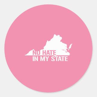 Virginia: Ningún odio en mi estado Pegatina Redonda