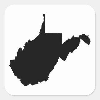 Virginia Occidental blanco y negro Pegatinas Cuadradases Personalizadas