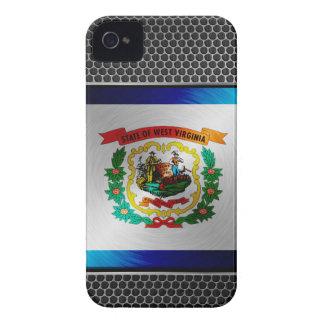 Virginia Occidental cepilló la bandera del metal Case-Mate iPhone 4 Cárcasas