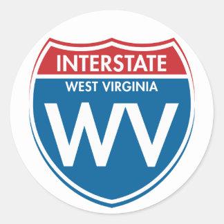 Virginia Occidental de un estado a otro WV Pegatina Redonda