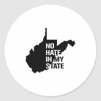 Virginia Occidental: Ningún odio en mi estado Pegatina Redonda