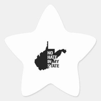 Virginia Occidental: Ningún odio en mi estado Pegatina En Forma De Estrella