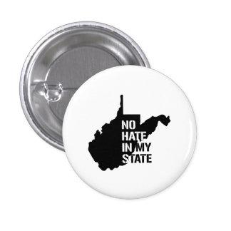 Virginia Occidental: Ningún odio en mi estado Pin Redondo 2,5 Cm