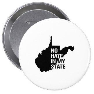 Virginia Occidental: Ningún odio en mi estado Pin Redondo 10 Cm