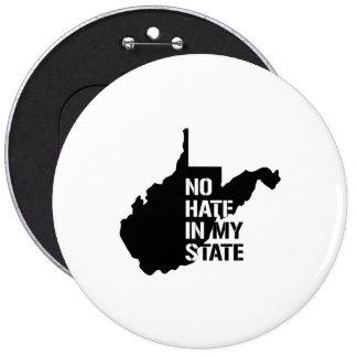 Virginia Occidental: Ningún odio en mi estado Pin Redondo 15 Cm