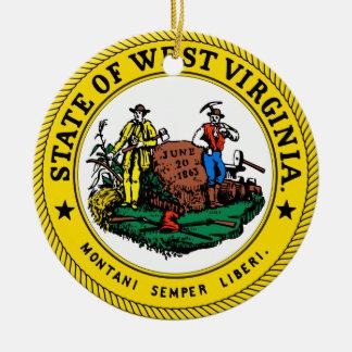 Virginia Occidental * ornamento del navidad Adorno Navideño Redondo De Cerámica