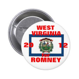 Virginia Occidental para Romney 2012 Pin Redondo 5 Cm