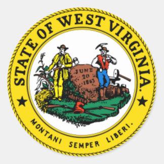 VIRGINIA OCCIDENTAL: Sello del estado de Virginia Pegatina Redonda