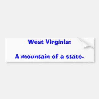 Virginia Occidental: Una montaña de un estado Pegatina Para Auto