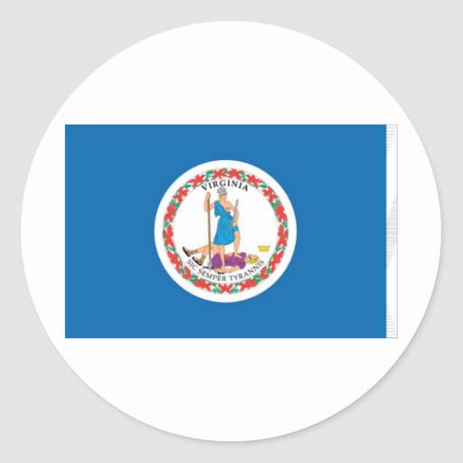 Virginia Official State Flag Round Stickers