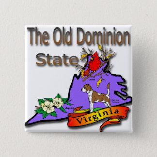Virginia Old Dominion State Hound Dogwood Cardinal Pinback Button