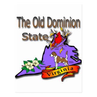 Virginia Old Dominion State Hound Dogwood Cardinal Postcard