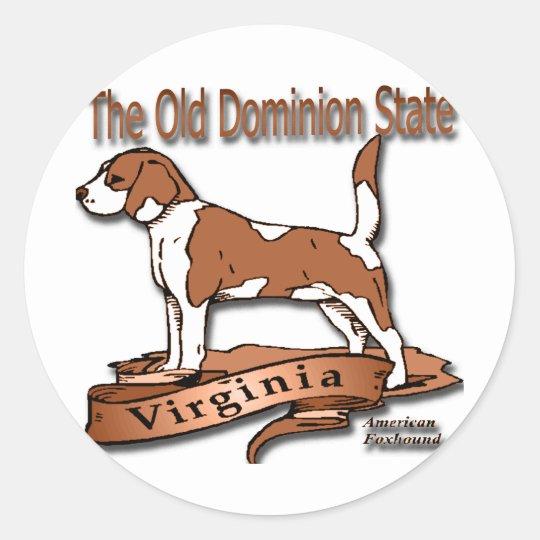 Virginia Old Domion State Dog Classic Round Sticker