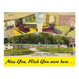 Virginia, Patton Motor Hotel, Fairfax Postcard