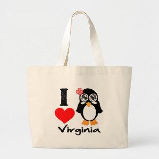 Virginia Penguin - I Love Virginia Tote Bag