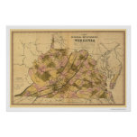 Virginia Railroad & Town Map 1848 Poster