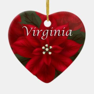 Virginia Red Poinsettia Heart  Keepsake Ornament