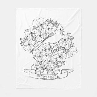 virginia state bird and flower coloring page fleece blanket