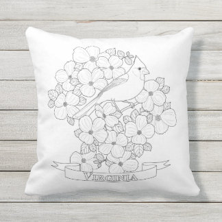 Virginia State Bird and Flower Coloring Page Throw Pillow