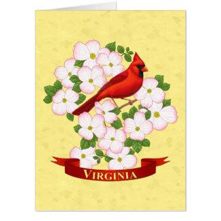 Virginia State Cardinal Bird and Dogwood Flower Card