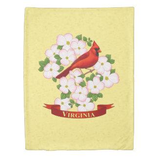 Virginia State Cardinal Bird and Dogwood Flower Duvet Cover