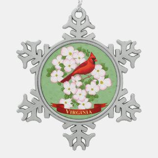 Virginia State Cardinal Bird and Dogwood Flower Snowflake Pewter Christmas Ornament