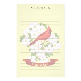 Virginia State Cardinal Bird and Dogwood Flower Stationery